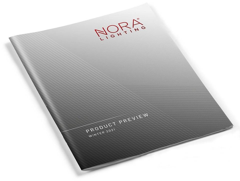 The 24-page Product Preview is highlighted with vivid, on-site photography that illustrates Nora's extensive collections of LED fixtures and their installation versatility.